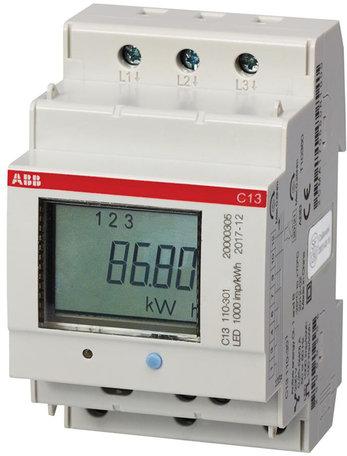 ABB C13 3 Fase kWh meter 40A met puls uitgang