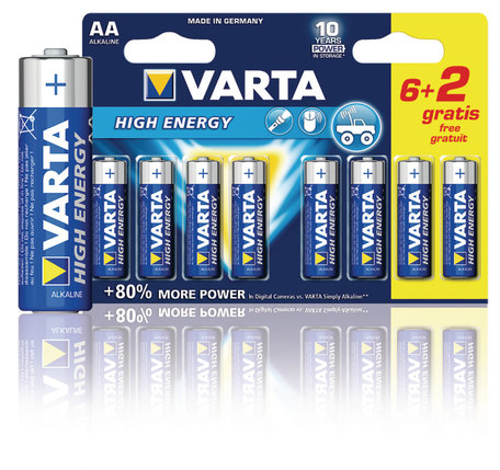 Varta Alkaline Batterij AA 1.5 V High Energy (8 Pack)