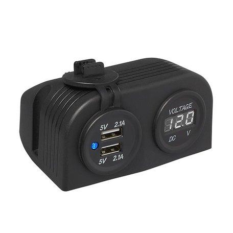 Opbouw Kit: Voltmeter 6-30V + USB poort dubbel 2x2100mA
