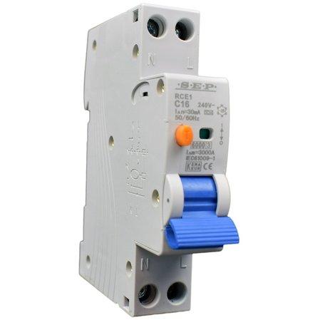 SEP RCE1 aardlekautomaat 1p+n B 16Amp, 30mA, 6kA (18mm)