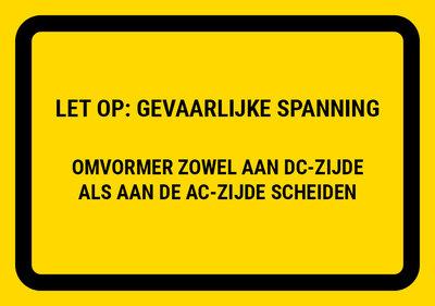 PV Sticker Omvormer NEN1010 - LET OP: Gevaarlijke spanning (per stuk)