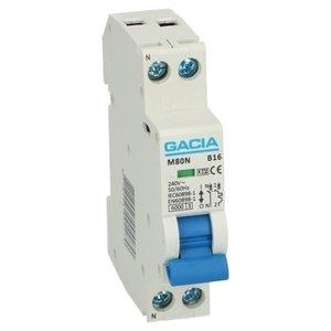 GACIA M80N installatieautomaat 1p+n B16 6kA (18mm)